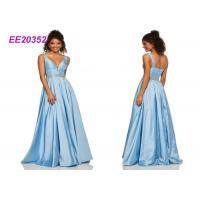 Quality Sleeveless Luxuey Floor Length Prom Ball Gowns Sweet Party Dress In Blue wholesale