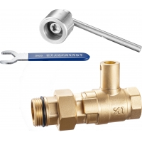 China 1415 Magnetic & Leadseal Lockable Brass Ball Water Meter Valve Stemhead ARROW Patterned w/ Coupling Quick In-Out Design on sale
