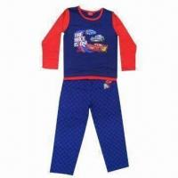 Quality 100% cotton children's sleepwear with all over printing graphics, customized designs are accepted wholesale