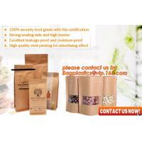 Quality ziplock colorful printing stand up kraft paper bags with clear window,Brown kraft paper aluminum foil zipper plastic bag wholesale