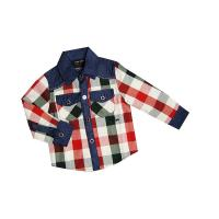 China Bule Neck Flannel High Count Knitting Long Sleeved Kids Plaid Shirts, Autumn Cotton Shirt on sale