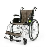 Quality YMTC-45 Dark Brown Folding Self-propelled ManualTransport Chair Wheelchair in Ultralight Aluminum Alloy with Folding Bac wholesale