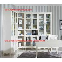 Quality Reading room Neoclassical Furniture by White Bookcase set with glass door and Computer working desk wholesale