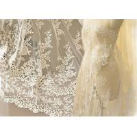 Quality Ivory Embroidery Bridal Corded Lace Fabric , Flower Scalloped Edge Lace Fabric By The Yard wholesale