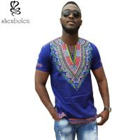 Quality Dashiki African Men T-Shirt Wax Print Fabrics Tops Clothes Cheap Price wholesale