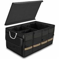 China Heavy Duty Black Sturdy Car Trunk Organizer Bag With Foldable Cover Waterproof on sale
