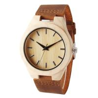 Quality Genuine Leather Band Bamboo Wooden Watch Simple Design With Japan Quartz Movement wholesale