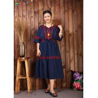 Quality Navy Blue Embroidered Cotton Dress Women Elegant And Comfortable Tunic wholesale