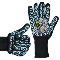 Quality Silicone Print Heat Resistant Hand Gloves / Barbecue Grilling Glove Lightweight wholesale