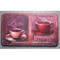 China Printed hot coffee pattern anti-fatigue kitchen mat with NBR foam on sale