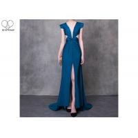 Quality Cyan V Neck A Line Cocktail Dress High Slit Back Hollow Sexy Style With Bowknot wholesale