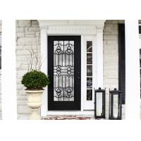 Quality Elegant Inlaid Wrought Iron Glass / Decorative Door Glass For Building Hand Forged Textures wholesale