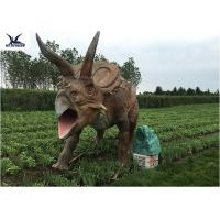 Quality Life Size Farm Animal Models , Full Size Triceratops Dinosaur Lawn Sculpture wholesale