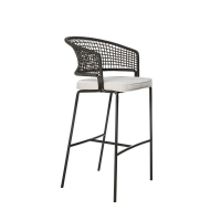 Quality H109cm W55cm Black And Wicker Bar Stools , Wicker Counter Height Stools For Backyard wholesale