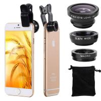 Quality Universal Fisheye Macro Cell Phone Camera Lens , 3 In1 Cell Phone Wide Angle Lens wholesale