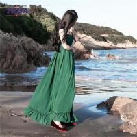 Quality Chiffon style empire waist green maxi long one piece dresses modern lady casual autumn dress with low price wholesale