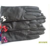 Quality Black Leather Gloves with Bowknot (HB39B) wholesale