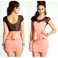 Quality Fashionable Cap Sleeve Casual Womens Dresses Pink Washable wholesale