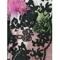 China Black Laser Cut Applique Embroidery Fabric Embroidered Lace Fabric on sale