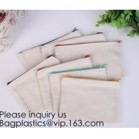 Quality Office Stationery custom logo printed plain Cotton Canvas pencil case bag with zipper,stationery bag paper holder file h wholesale