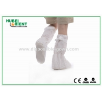 China PP Coated CPE Disposable Boot Cover With Non Slip PVC Sole on sale
