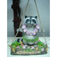 Quality Customized Garden Decorative Epoxy Resin Crafts Racoon Playing on Swing with Solar Light wholesale
