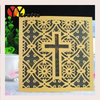 Quality Luxury square wedding cards baptism gold invitation card with laser cut cross design wholesale