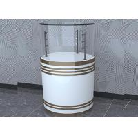 Quality Wooden White Custom Glass Display Cases Fashion Round Shape With LED Pole Lighting wholesale