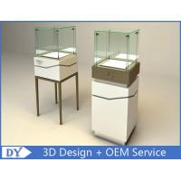 Quality High Square Glass Jewelry Display Case With Lights Logo / Shop Glass Display Cabinets wholesale