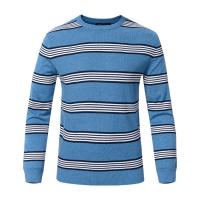 Quality Stripe Winter Woolen Sweater For Mens , Crew Neck Mens Pullover Sweater wholesale