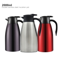 Quality Stainless Steel Double Wall 2000ml Vacuum Insulated Teapot wholesale