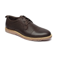 China Dark Coffee Antiodor Mens Breathable Leather Shoes Lace Up on sale