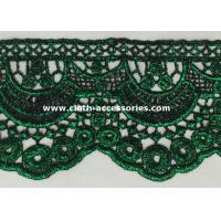 China 10 Inch Scalloped Edge Lace Trim / Garment Green Chemical Crochet Lace Trim on sale