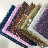 Quality Beautiful Printed Glitter Sequin Fabric 50D*75D Yarn Count 220gsm Plaid Style wholesale