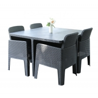 Quality H75mm Table L56cm Chair Rattan Garden Dining Set , 4 Seater Rattan Dining Set For Patio wholesale