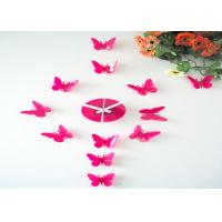 Quality Pink 3D Butterfly Sticker Wall Clock wholesale