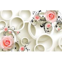 Quality Embossed Surface 3D Wall Decor Panels Pink Roses For Hotel TV Background Wall wholesale