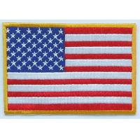 Quality Sew-on, 8CM X 6CM, 100% twill embroidered USA national flag patches, four thread colors Embroidered Flag Patches wholesale