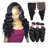 Quality Double Weft Peruvian Loose Wave Weave Extensions 1B Silky And Soft wholesale