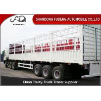 China Tri Axle Livestock Semi Trailers / 40 Foot Steel Cattle Stock Trailers  on sale