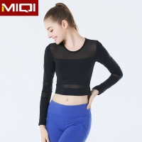 China Women Running Workout Gym Sportswear Black 310gsm Yoga Long Sleeves on sale