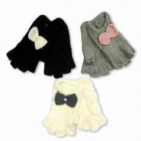 Quality Half Fingers Gloves with Bow, Made of Acrylic Mohair wholesale