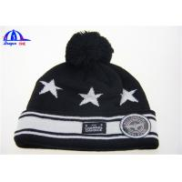 China 100% Acrylic Knit Beanie With Jacquard Logo And Wiht Woven Label Patch On Front on sale