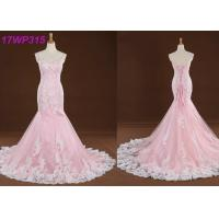 Quality Spaghetti Straps Colored Mermaid Wedding Dresses , Sweep Train Pink Colour Wedding Gown wholesale