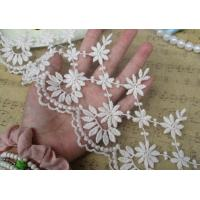 China Embroidered Alibaba China Wholesale Embroidered Chemical White flower Lace Fabric trimming for dress sale on sale