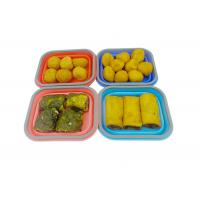 Quality Small Silicone Collapsible Lunch Box 1 Compartment Square Shape wholesale