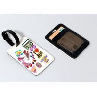 China Leather Sublimation Blank Products Luggage Tag With Glitter Or Card Sleeves Backing on sale