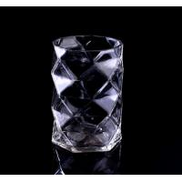 Quality Mouth Blown Clear Diamond small glass votive candle holders / Candle Jar wholesale
