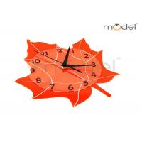 Quality Modern Home Decor Clocks Orange Maple Leaf Shape Silent Wall Clock wholesale