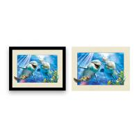 Quality 12x16 Inch Framed Dolphin Picture Wall Arts 3d Lenticular Picture For Home Decoration wholesale